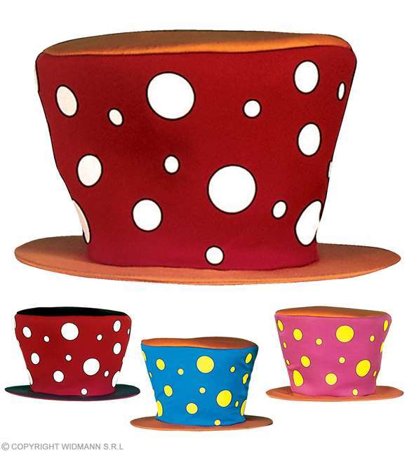Grand chapeau de clown (4 couleurs)