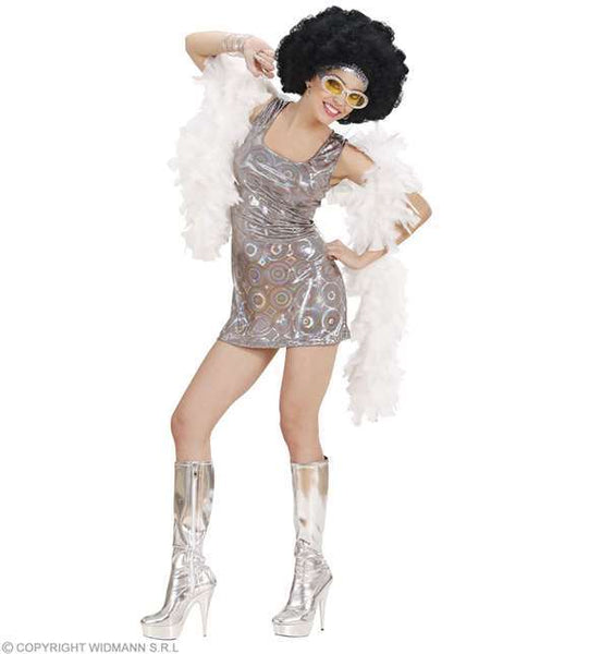 Costume adulte robe disco argent paillettes Small