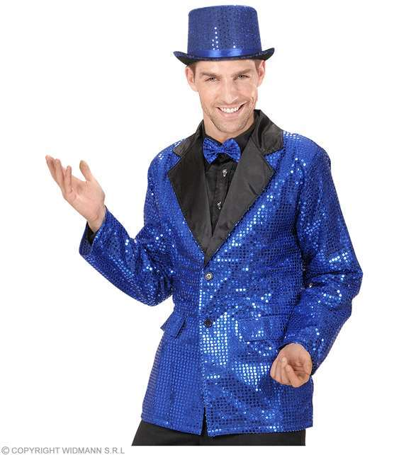 Costume adulte veste disco bleu paillettes Medium