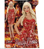 Costume adulte robe sequin rouge et or