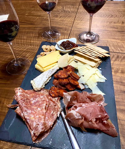 Three cheese and three meat option from Burgundy Swine's charcuterie board option.