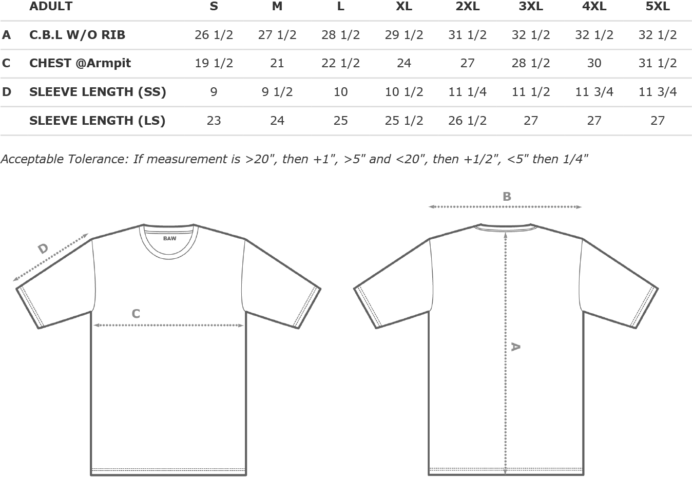 Adult Performance Long Sleeve Shirt Size Chart