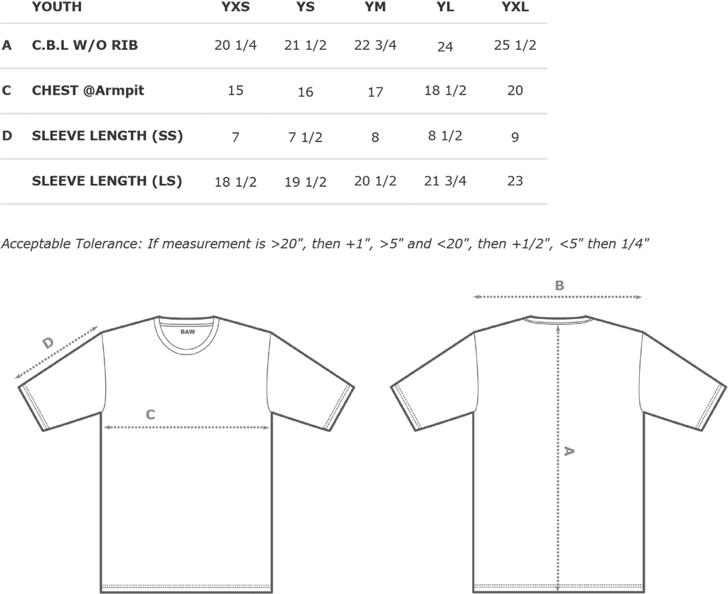 Performance Youth Heather T-Shirt Size Chart