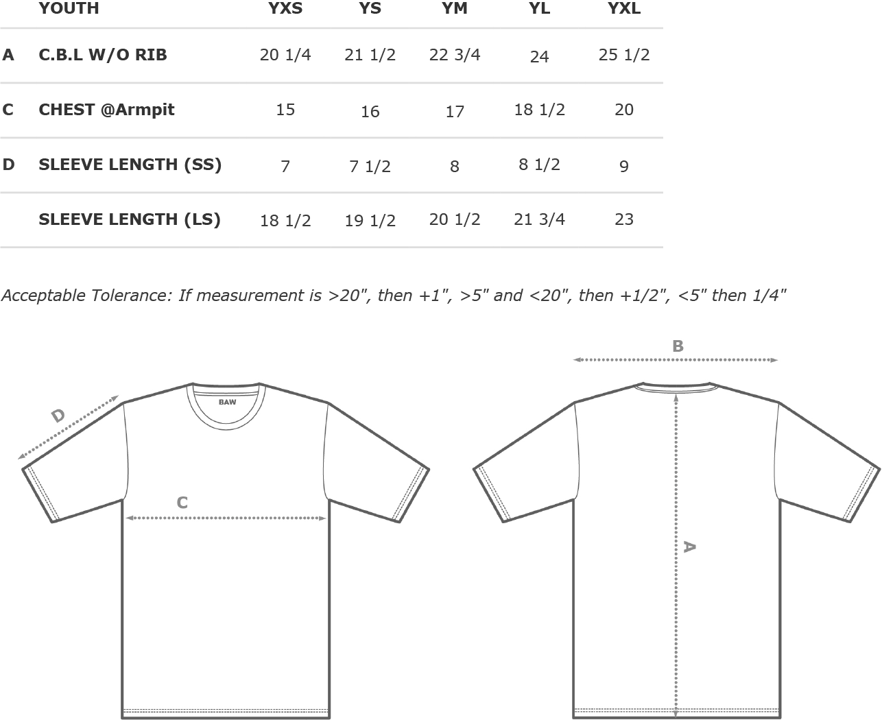 Youth Performance Long Sleeve T-Shirt Size Chart