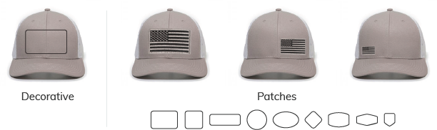 Patch placement for trucker hat