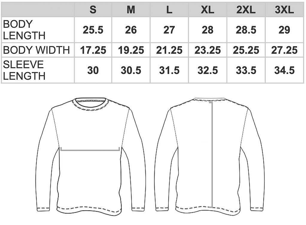 Women's Classic Long Sleeve Tee Size Chart G540L