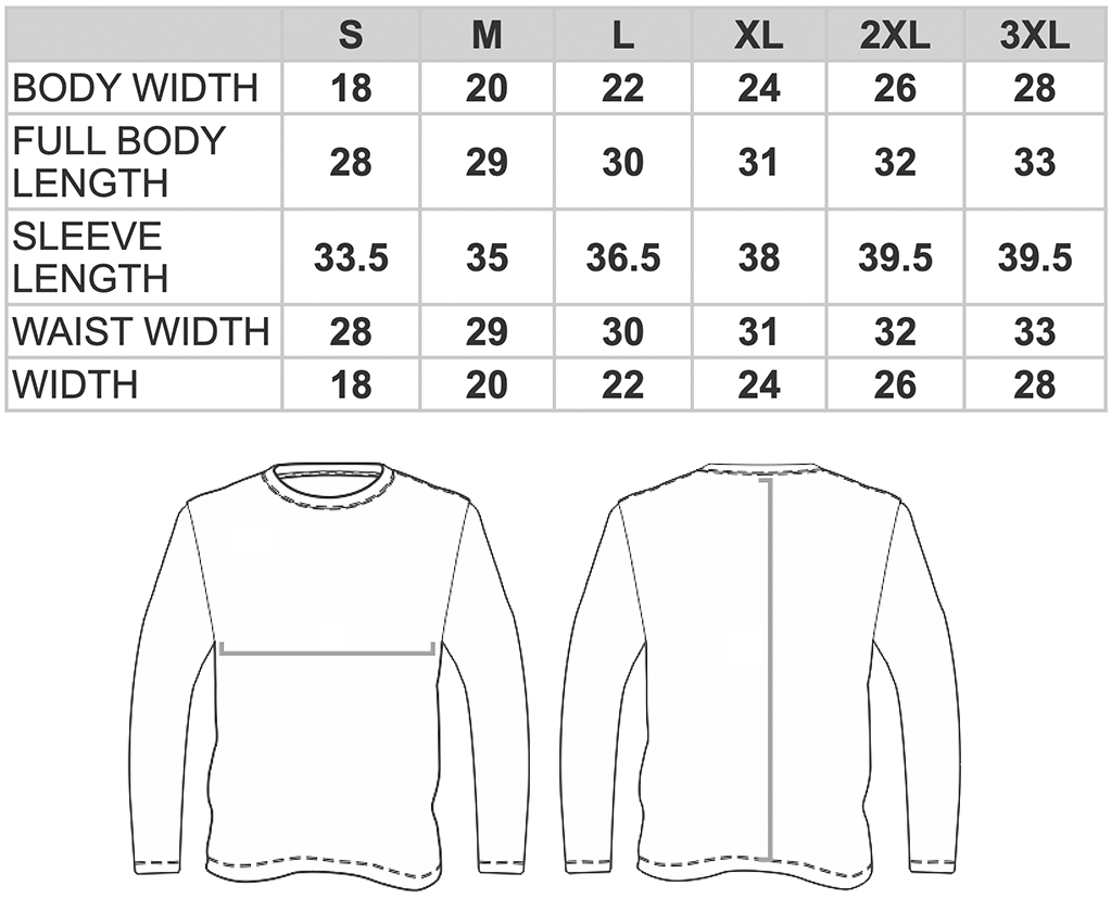 G540 Classic Long Sleeve Size Chart
