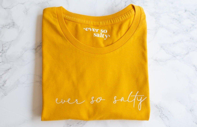 Yellow ever so salty ladies slogan t-shirt, Cystic Fibrosis t-shirt, CF Week, Yelfie