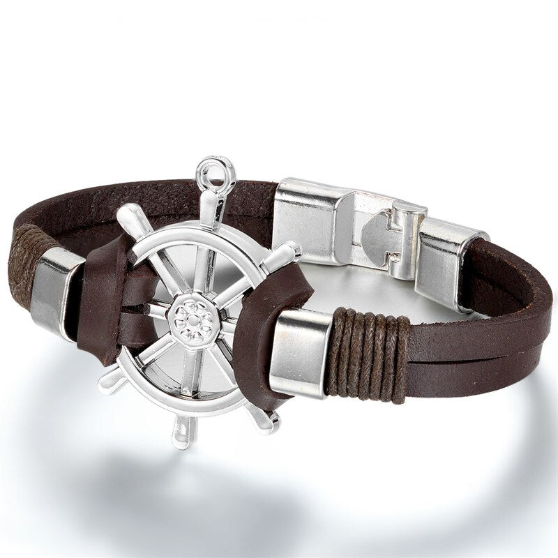 Ship Wheel Leather Bracelet
