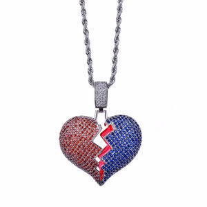 Red and Blue Broken Heart Necklace