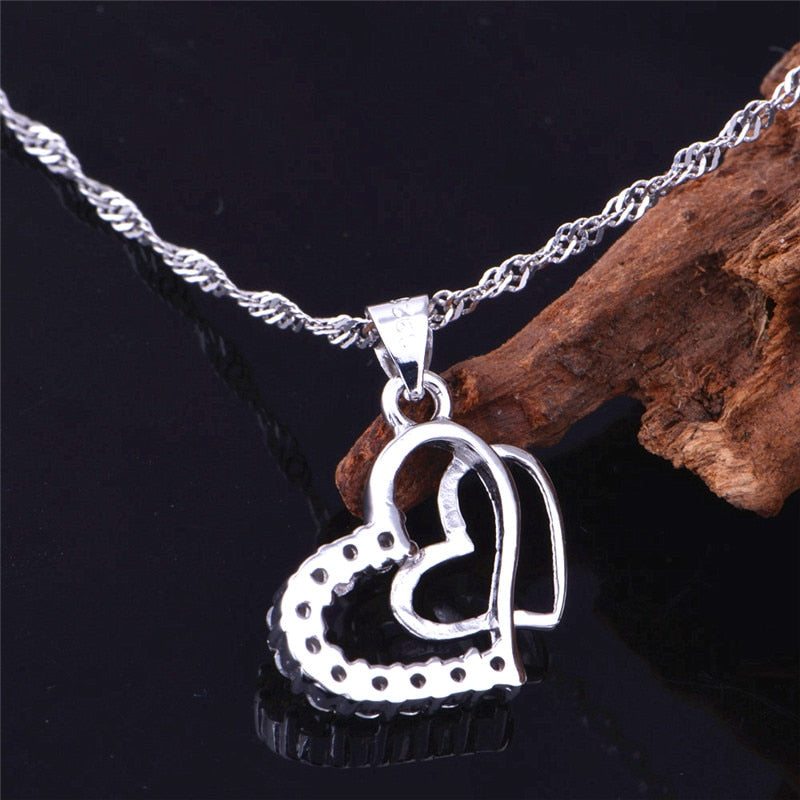Silver CZ Double Heart Necklace