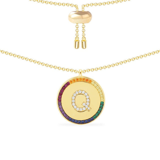 Colored Rhinestone Initial Necklace