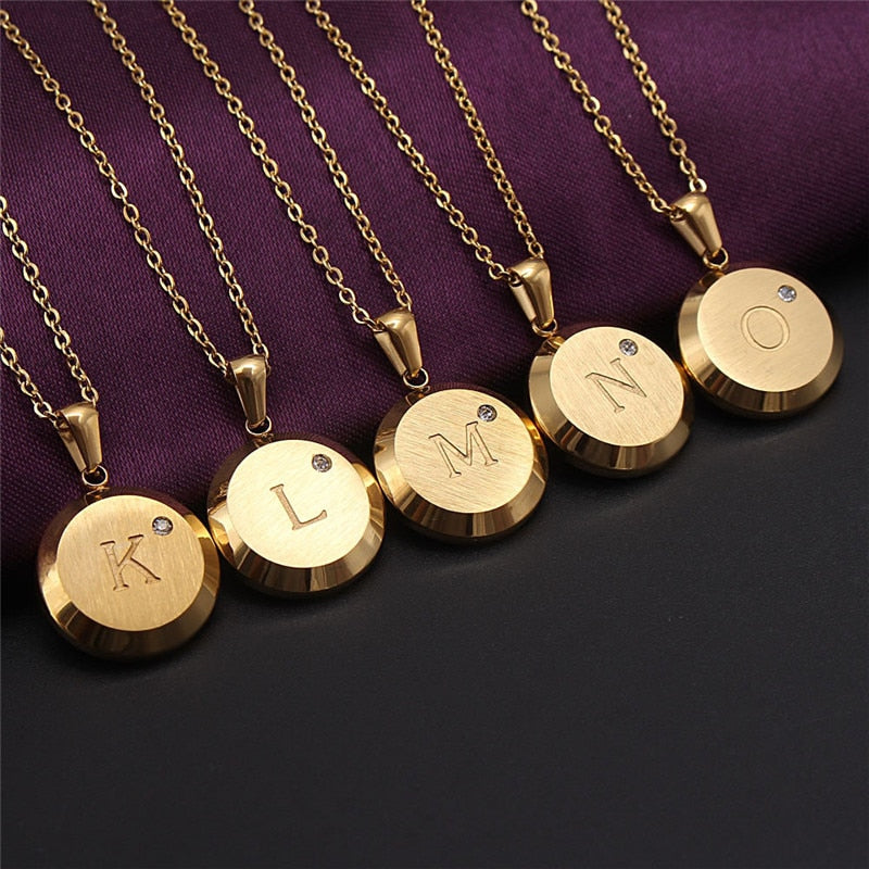 Gold Coin Initial Necklace