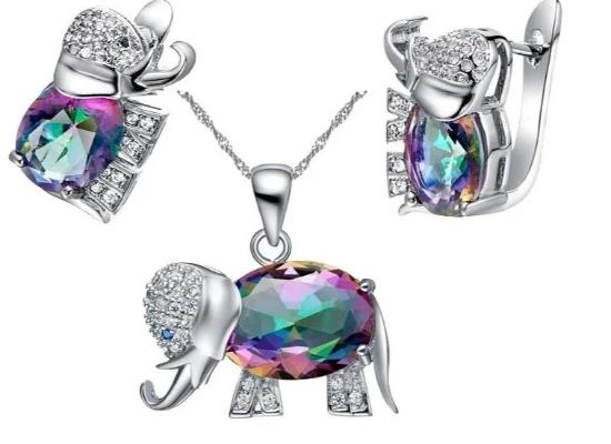 Elephant Earrings and Necklace Set