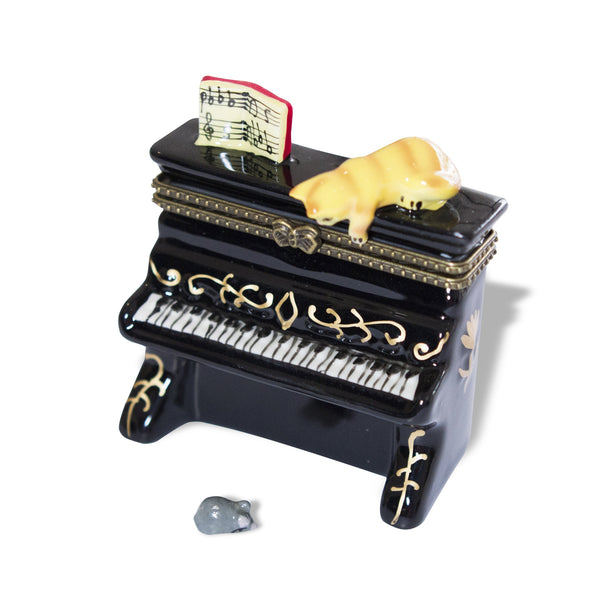 Cat on Upright Piano Porcelain Box