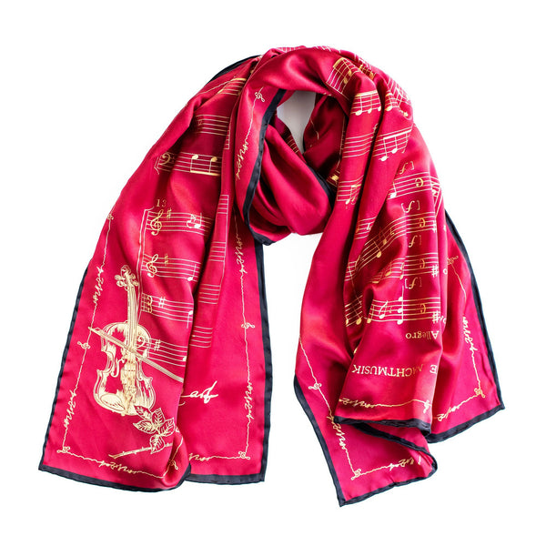 Mozart Silk Scarf Red