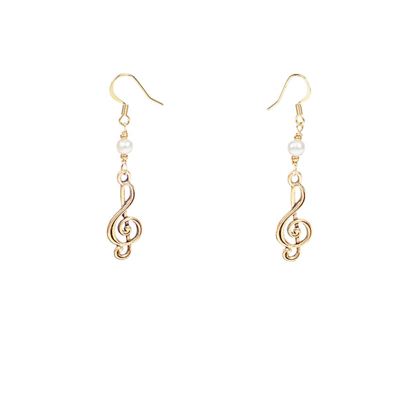 Treble Clef Charm with Pearl Earrings