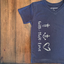 "Load image into Gallery viewer, ""Faith + Hope + Love"" Keiki Tee"
