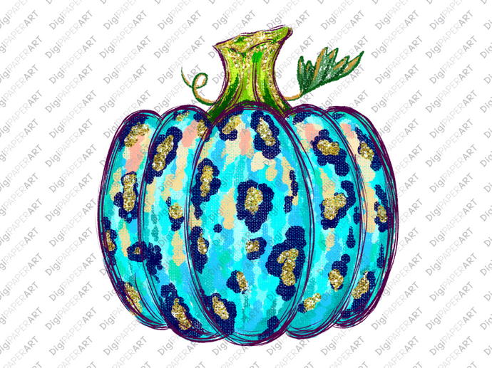 Leopard blue Pumpkin PNG,  Fall PNG,  Sublimation ready to print, Thanksgiving Clipart, Fall Clipart, Autumn Clipart, Sublimation Graphics