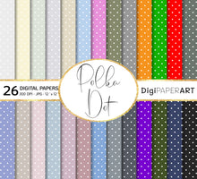 Load image into Gallery viewer, Polka Dot Paper Pack, Scrapbook Polka Dot Backgrounds, Neutral Polka Dot Digital Backgrounds, Baby Digital Paper,