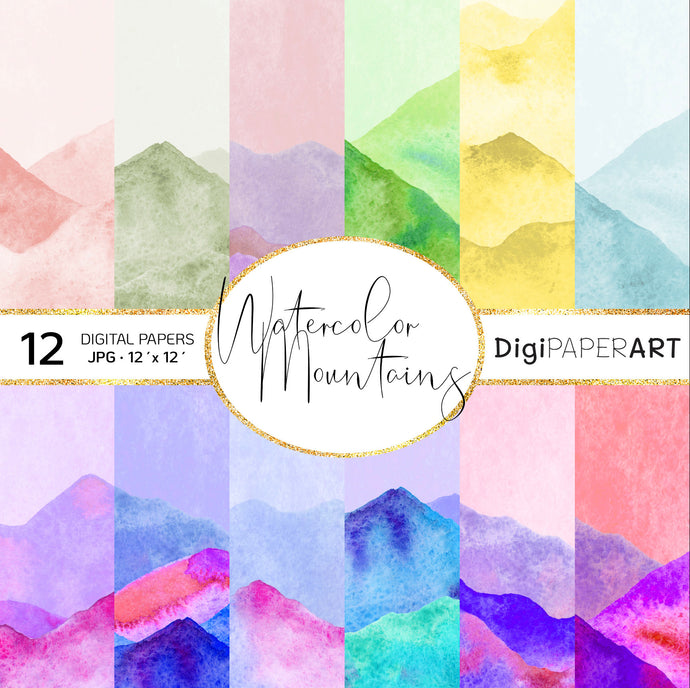Watercolor Mountain Digital Paper Pack,Watercolor Mountain Instant Download, Watercolor Mountain Landscape Scrapbooking Backgrounds