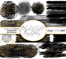 Load image into Gallery viewer, Black Brush Strokes PNG Clipart, Black and Gold Glitter Paint Strokes , Watercolor Brushstrokes, Circle Design Elements,  Glitter Background