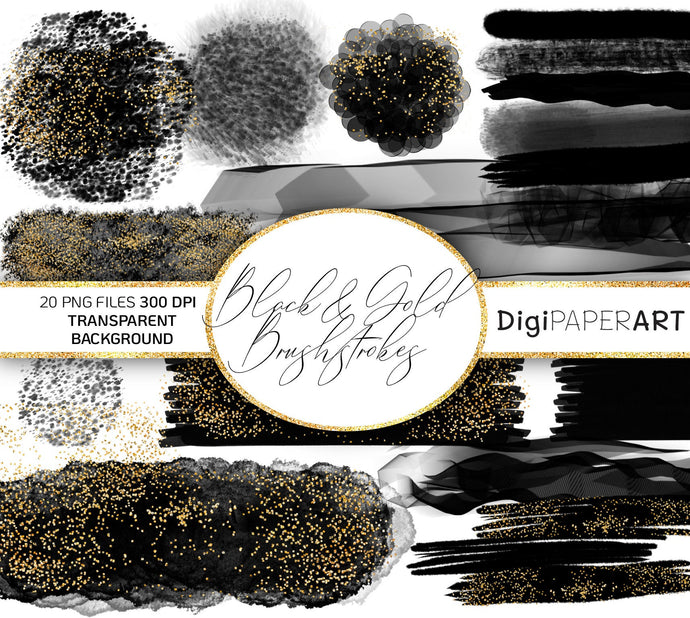 Black&Gold Brushstrokes Clipart, Gold Glitter Brush Stroke, PNG Stroke, Watercolor Background  Logo Branding Blogging Circle Design Elements