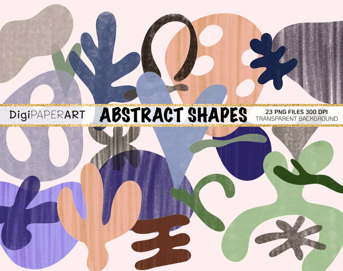 Abstract shapes PNG, Abstract shapes Clipart, Abstract elements for creating collages, posters, patterns and backgrounds, Digital Download
