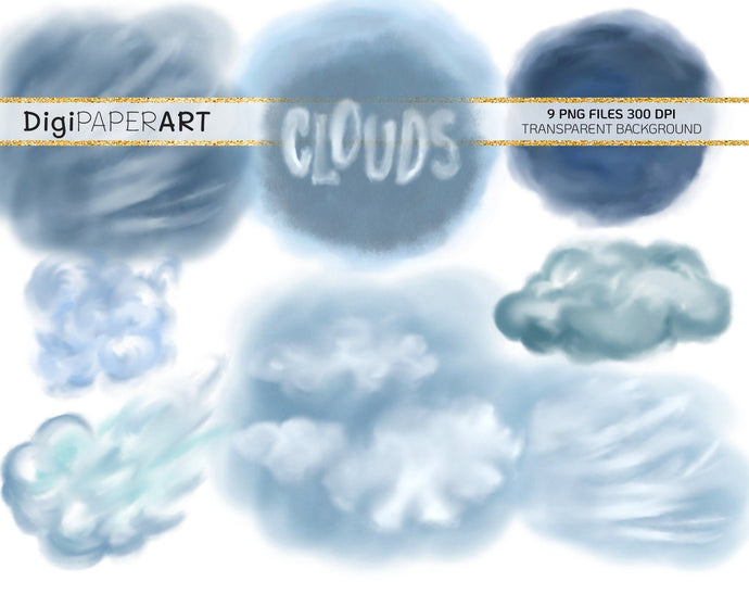 Clouds PNG, Clouds Clip Arts, Cloud Overlays Addons, Sky PNG Backgrounds, Sky Scrapbooking, Travel Clipart, Digital Instant Download