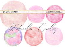 Load image into Gallery viewer, Pink Watercolor Blobs,  Circles Backgrounds, Pink Circle Blobs, Watercolor Backgrounds, Sublimation Graphics, Paint Graphic Elements