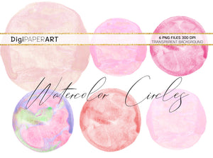 Pink Watercolor Blobs,  Circles Backgrounds, Pink Circle Blobs, Watercolor Backgrounds, Sublimation Graphics, Paint Graphic Elements