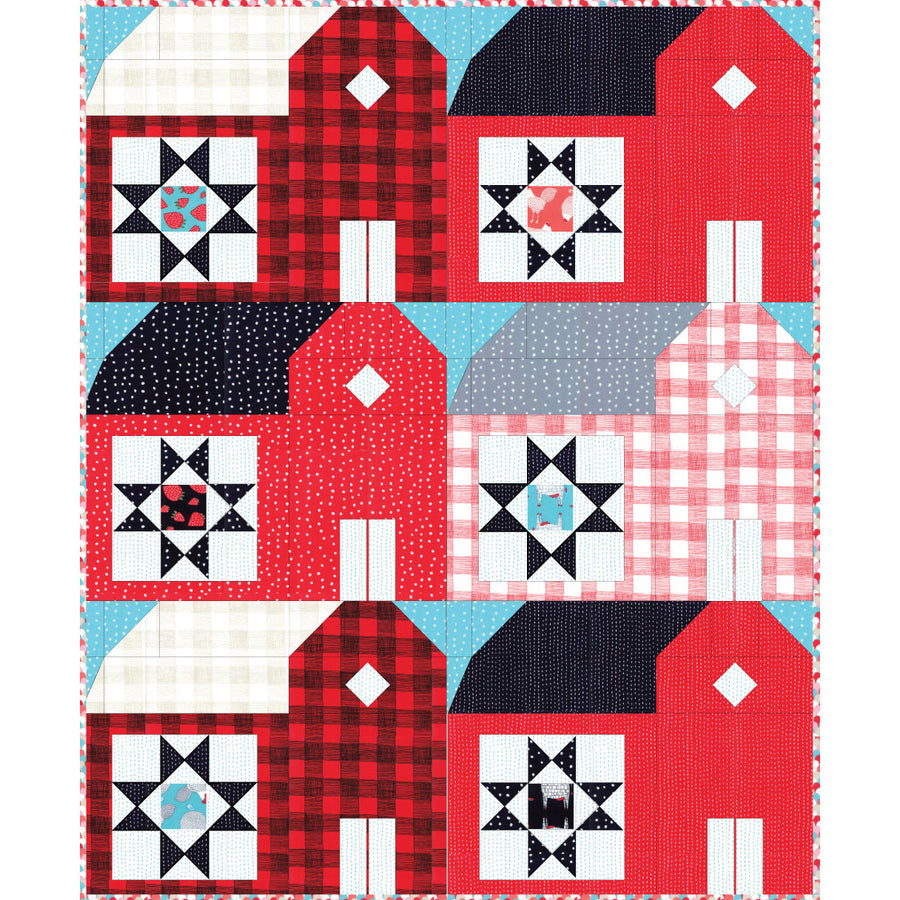 Red Barns Quilt Pattern - PDF VERSION