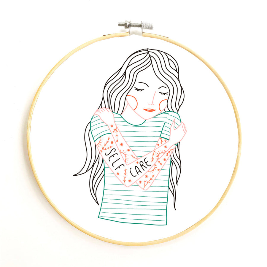 Self Care Embroidery Pattern PDF Download