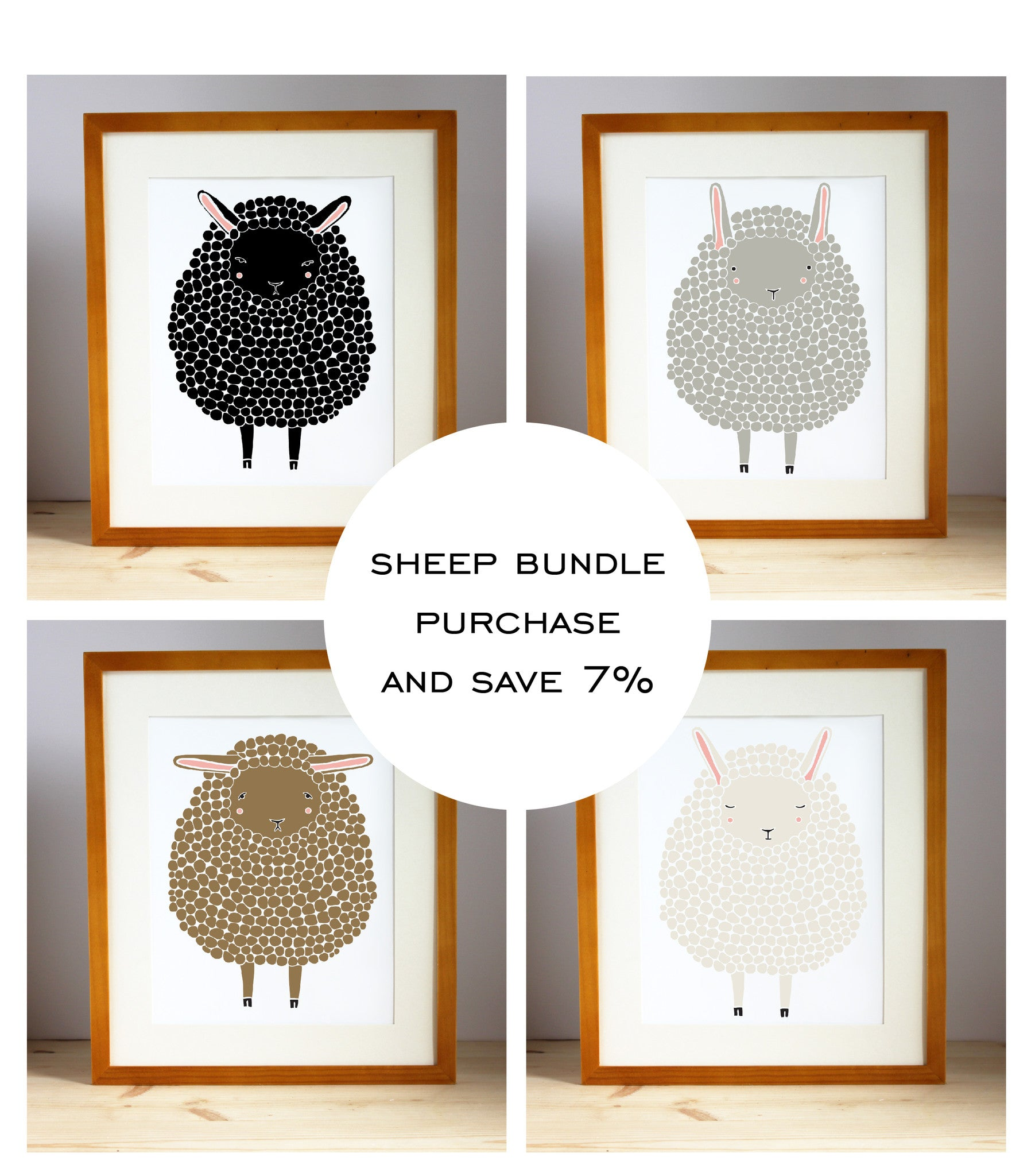 4 Sheep Print Bundle