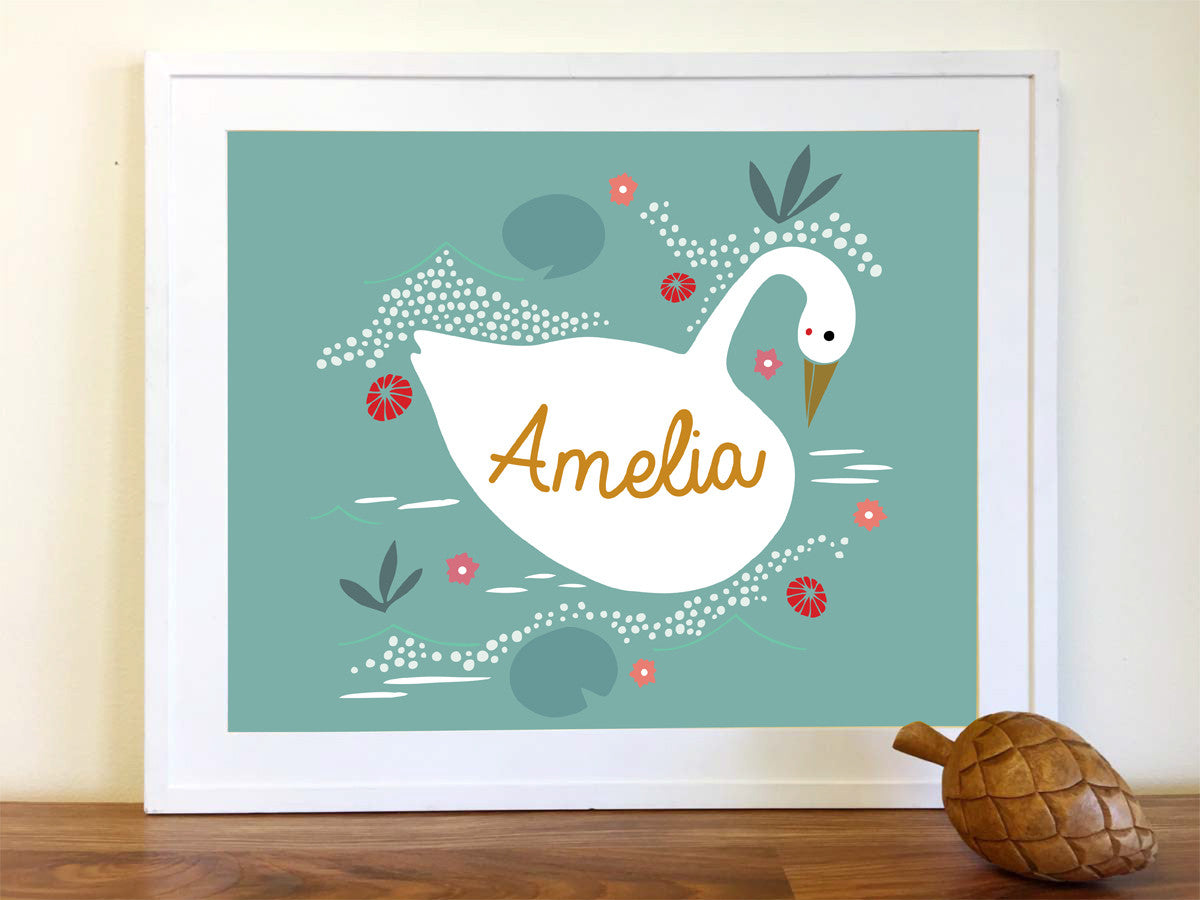 Framed Personalized Swan Oversized Art Print
