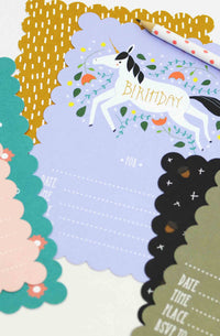 Unicorn Fill In The Blank Birthday Party Invitations