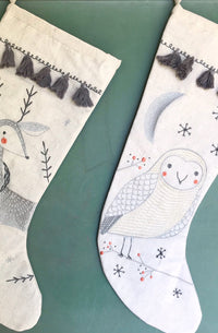 Merriment Owl Embroidered Christmas Stocking