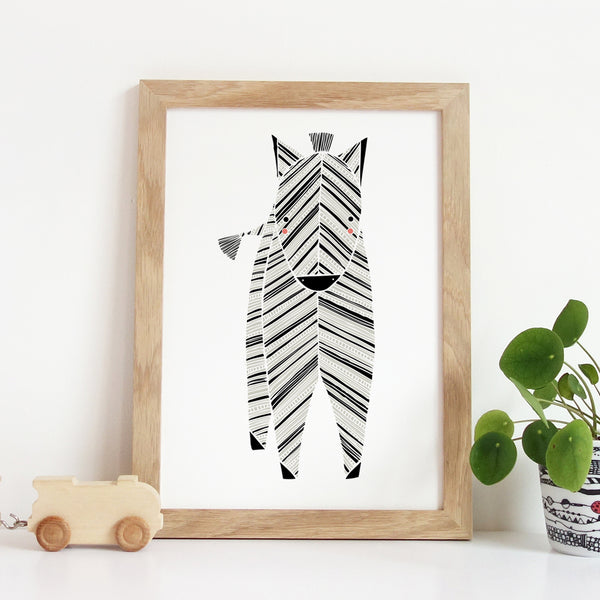 Safari Zebra Art Print