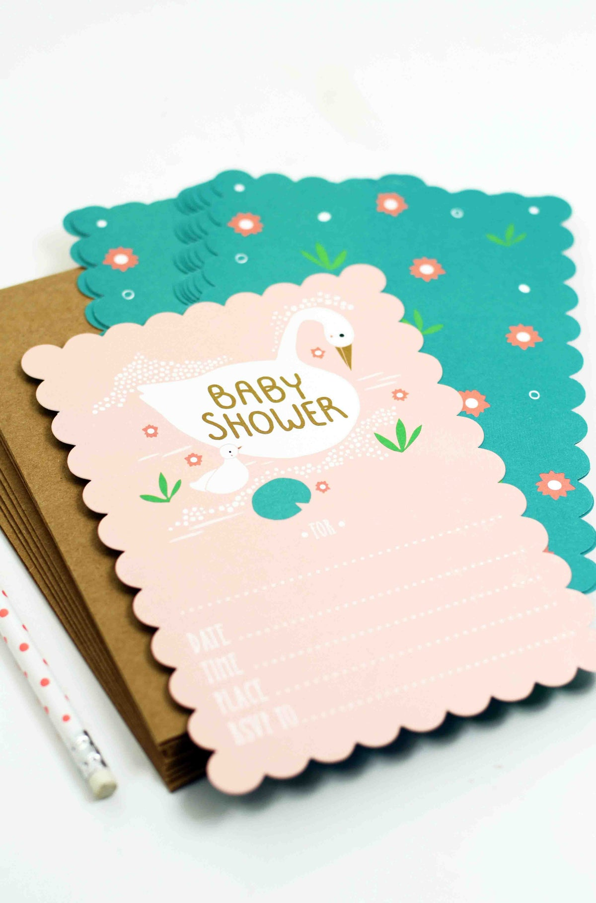 Swan Fill In The Blank Baby Shower Invitations – Gingiber