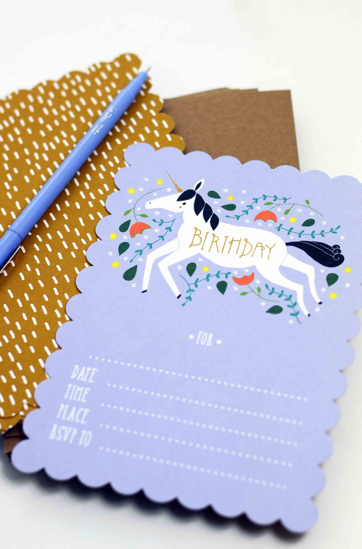unicorn fill in the blank birthday party invitations gingiber