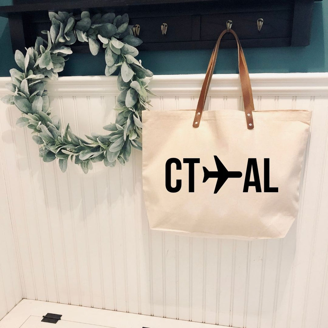 Graduation Gift/Off to College: Leather Handle Tote with States