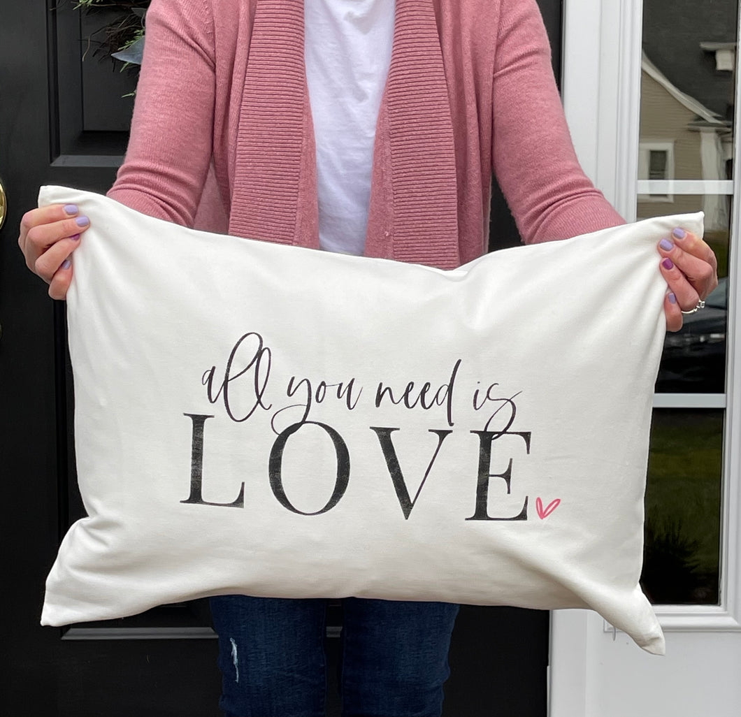 Valentine's Day:16x24 Large Lumbar Pillow: All you need is LOVE