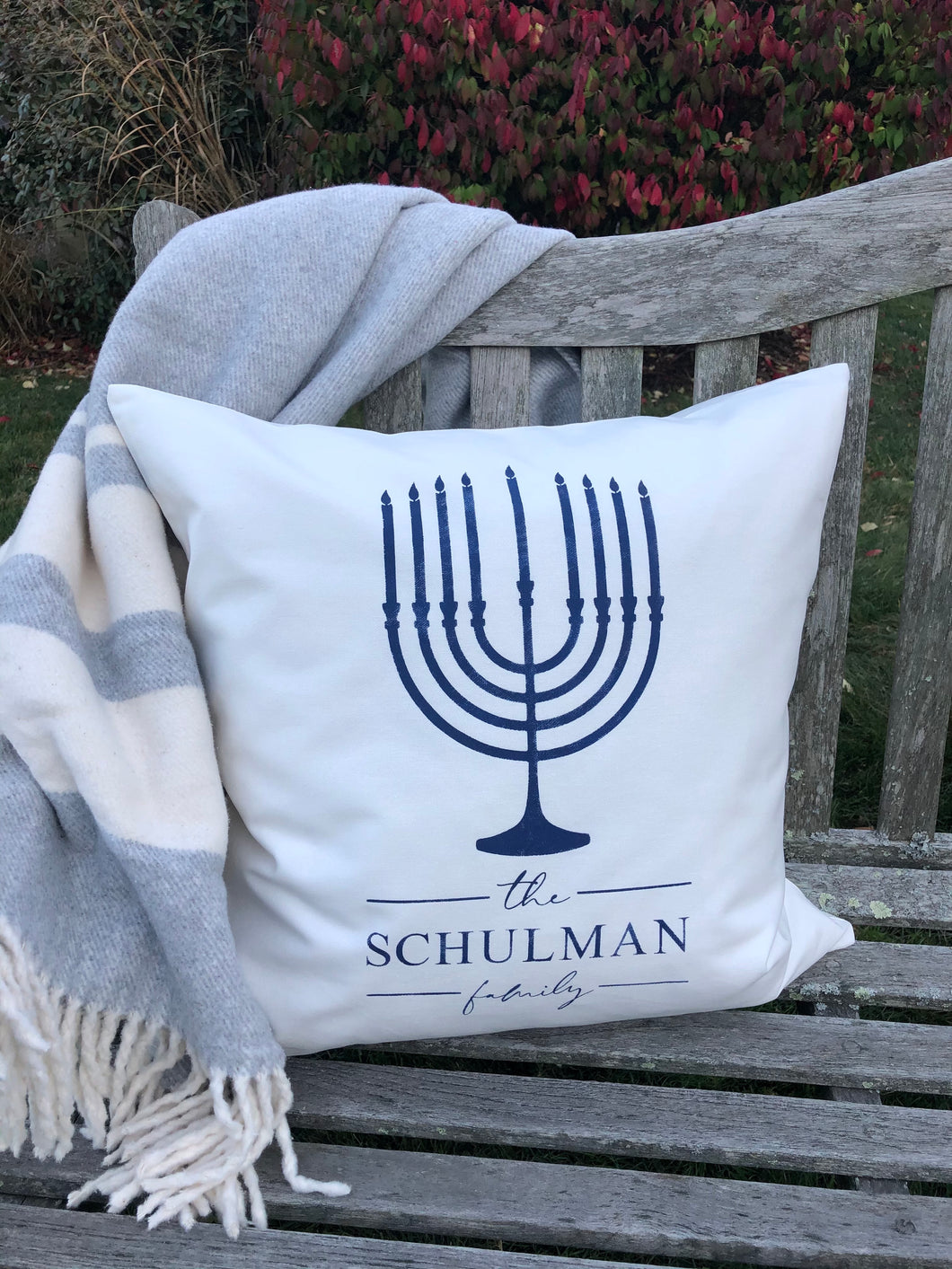 20x20 Holiday Pillow: Hanukkah with Menorah and Family Name
