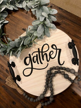 Load image into Gallery viewer, Customized Hand Painted Wood Tray: Gather, Celebrate, or Family