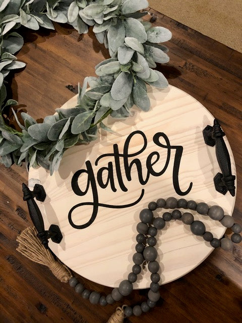 Customized Hand Painted Wood Tray: Gather, Celebrate, or Family