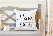 Load image into Gallery viewer, 20x20 Home Pillow With Zip Code and Town