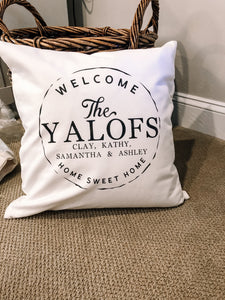 20x20  Welcome Family Pillow
