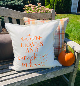Fall Autumn Leaves and Pumpkins Please 20x20 Pillow