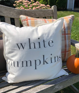 Simply Grey Fall White Pumpkin 20x20 Pillow