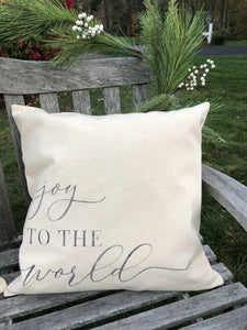 20x20 Holiday Pillow: Joy to the World